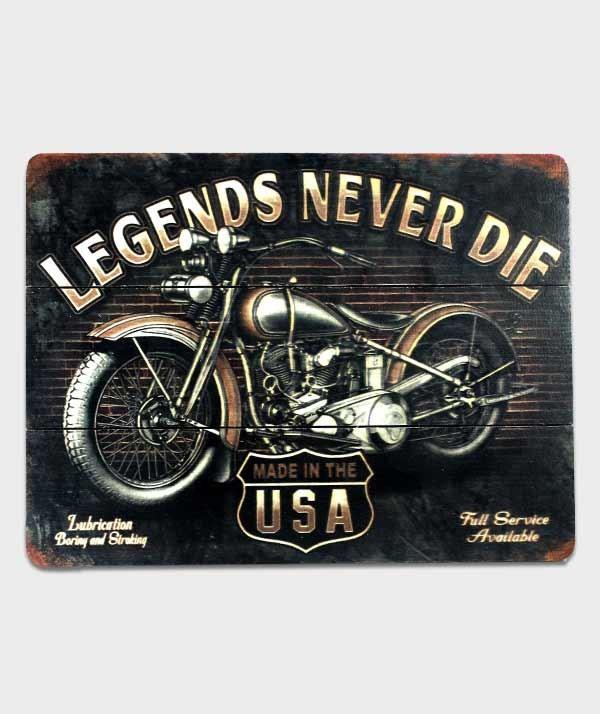 plaque bois legends never die