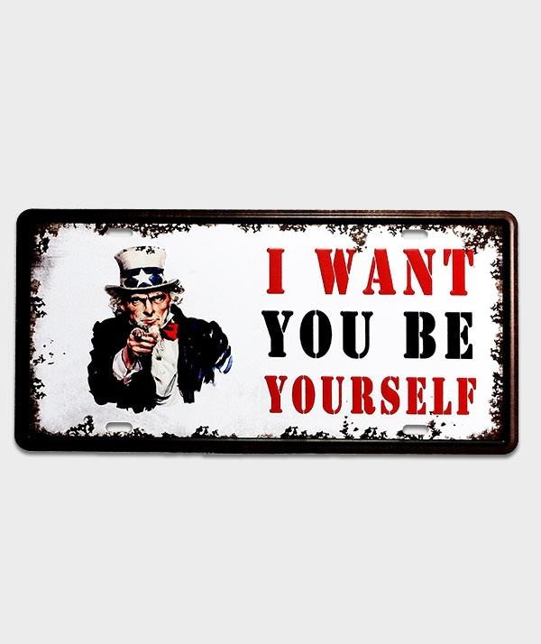 Plaque d'immatriculation US décor l want you