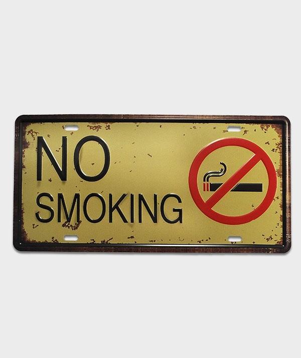 Plaque d'immatriculation US décor No Smoking