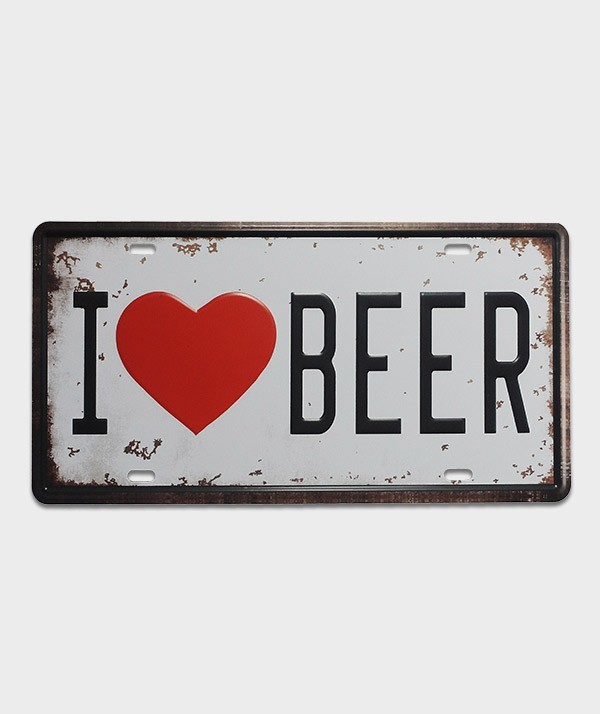 Plaque d'immatriculation US décor i love beer