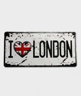 Plaque d'immatriculation US décor i love London pour des idées cadeaux originaux.