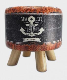 pouf vintage marin à trois pattes en bois