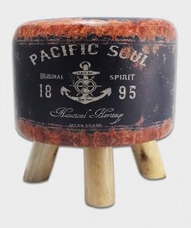 pouf vintage encre marine à trois pattes en bois
