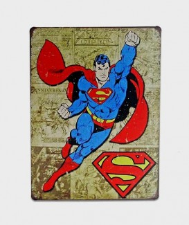 plaque superman sur fond marron tole deco affiche metal