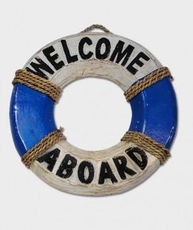 Bouée de sauvetage décorative bleu et blanc Welcom arboard