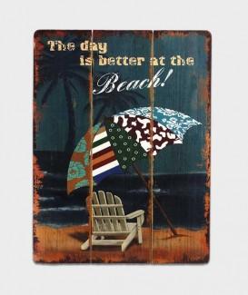 Plaque bois Déco Vintage - La journée est meilleure à la plage