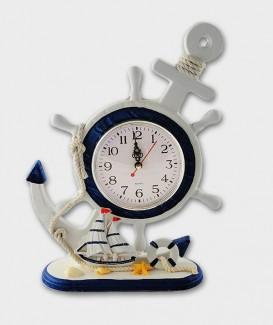 Horloge  penché déco Marine Ancre marine