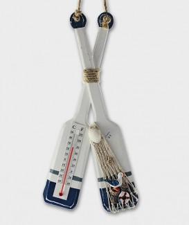 Thermomètre déco double rame en bois souvenir de Lacanau Océan